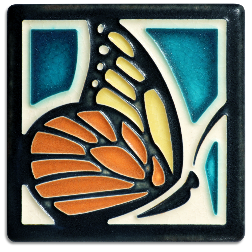 Butterfly 4x4 Tile in Turquoise