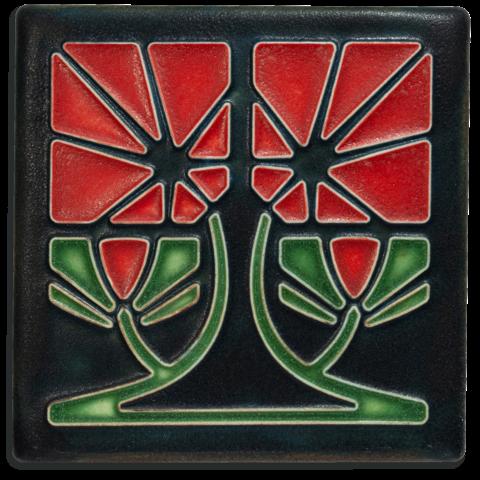 Petunia 4x4 Tile in Red