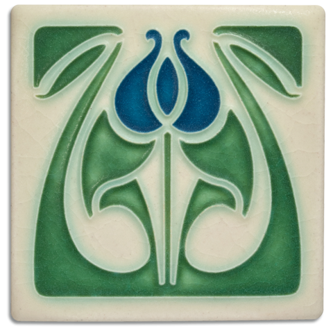 Tulip Bud 4x4 Tile in Blue