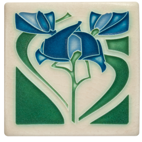 Freesia 4x4 Tile in Blue