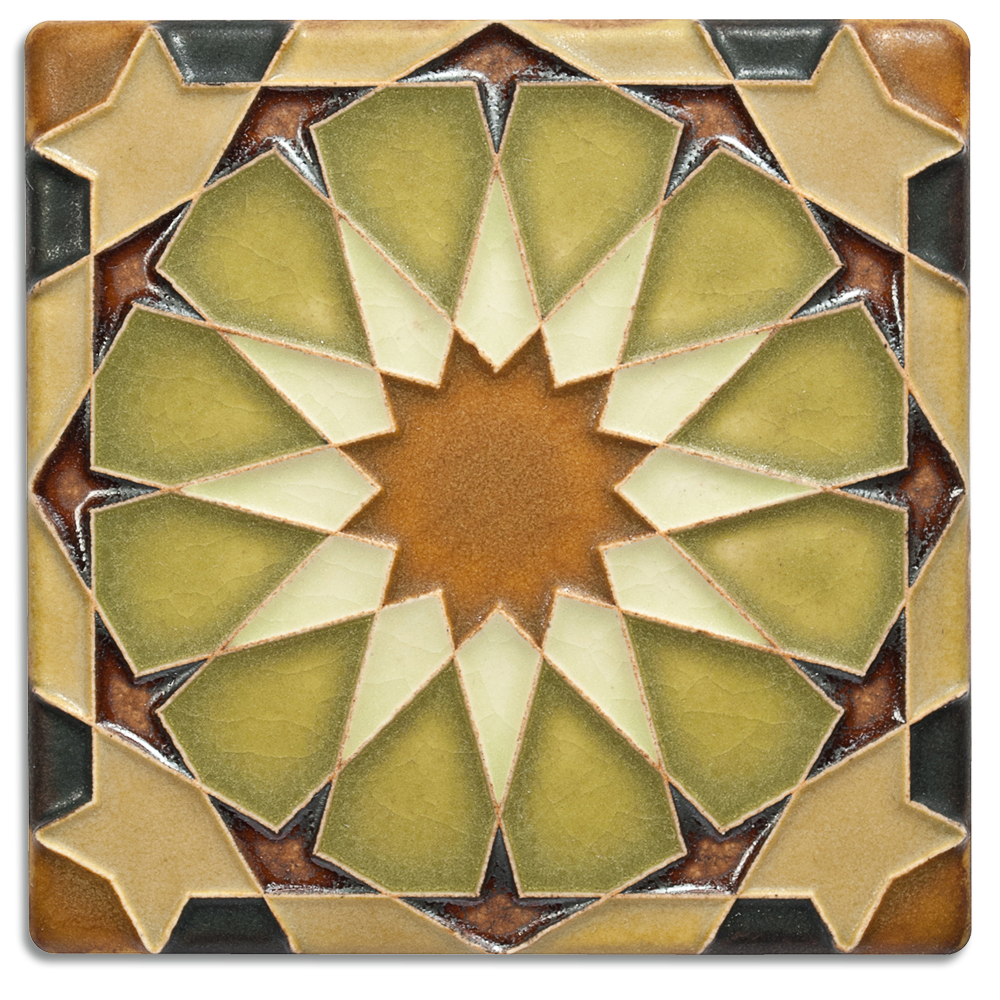 Alhambra 4x4 Deco Tile in Olive