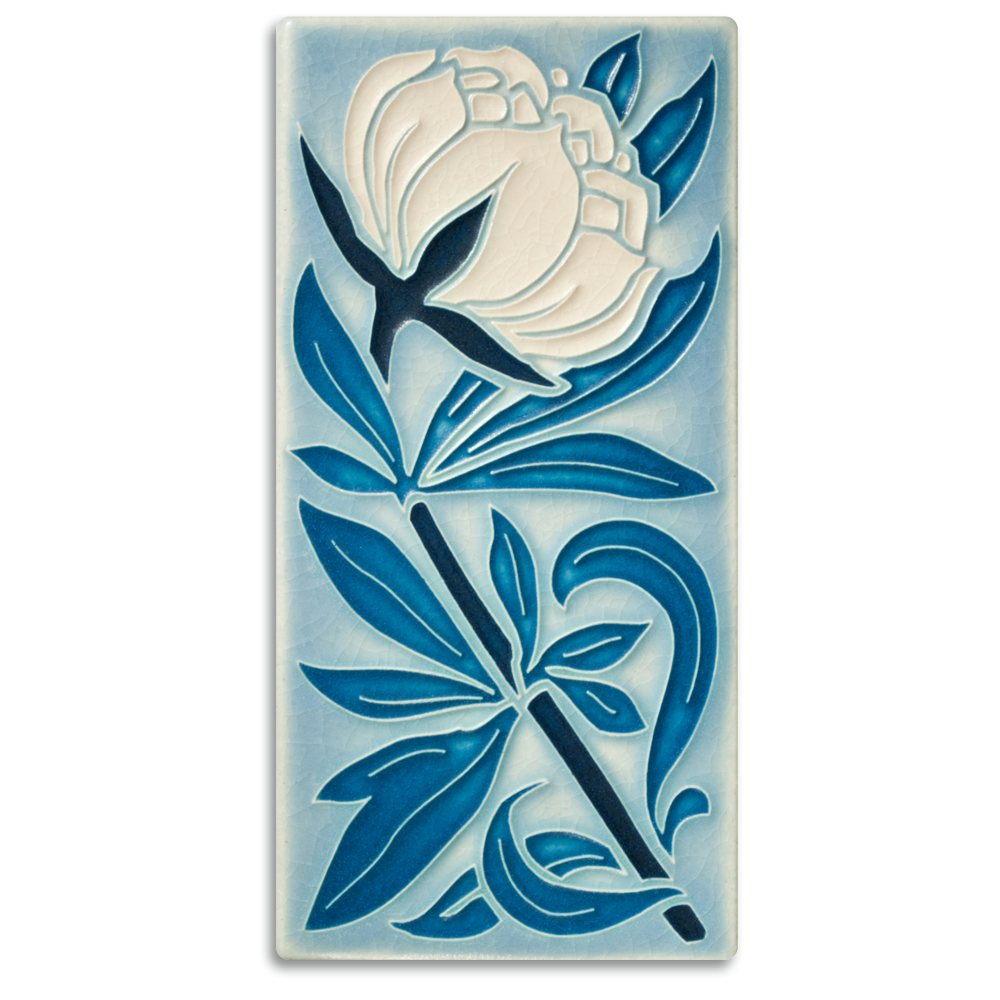 Peony 4x8 Tile in Pale Blue