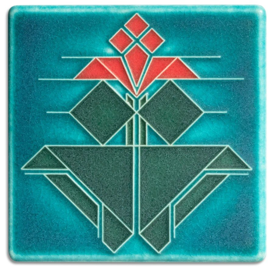 Avery Tulip 4x4 Turquoise Tile