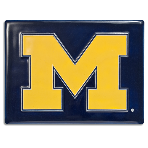 U of M Block M 6x8 Tile on Blue