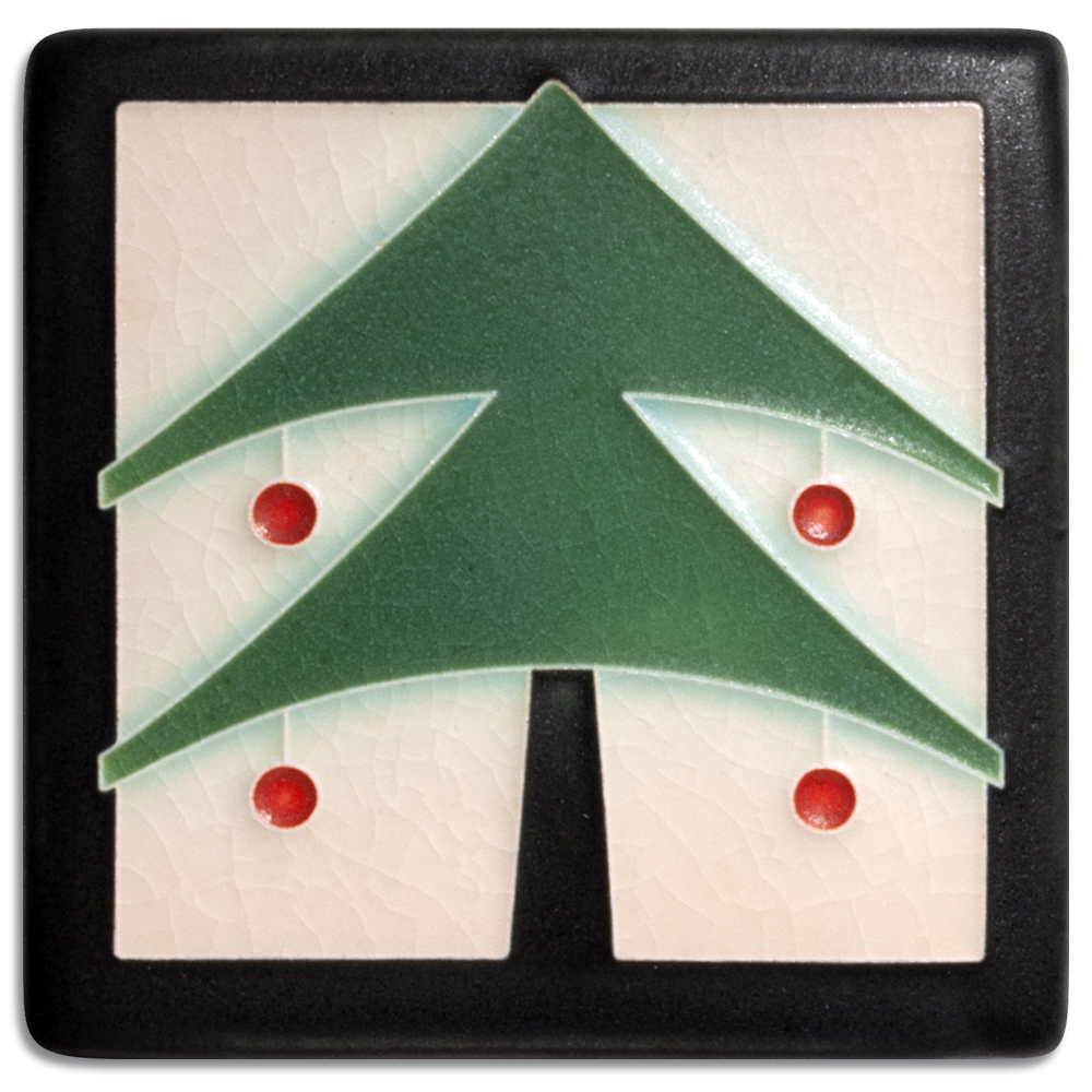 Christmas Tree 4x4 Tile in Peppermint