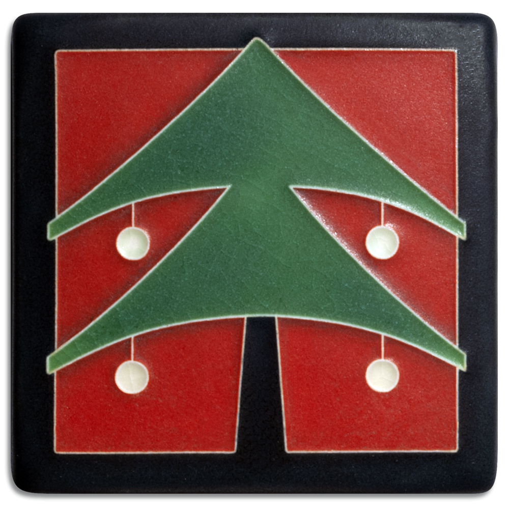 Christmas Tree 4x4 Tile in Red