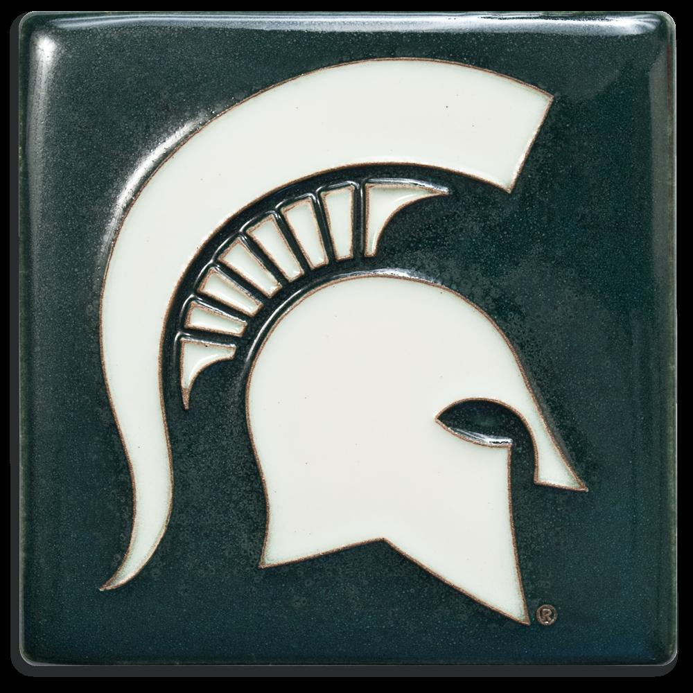 MSU Spartan Helmet 4x4 Tile