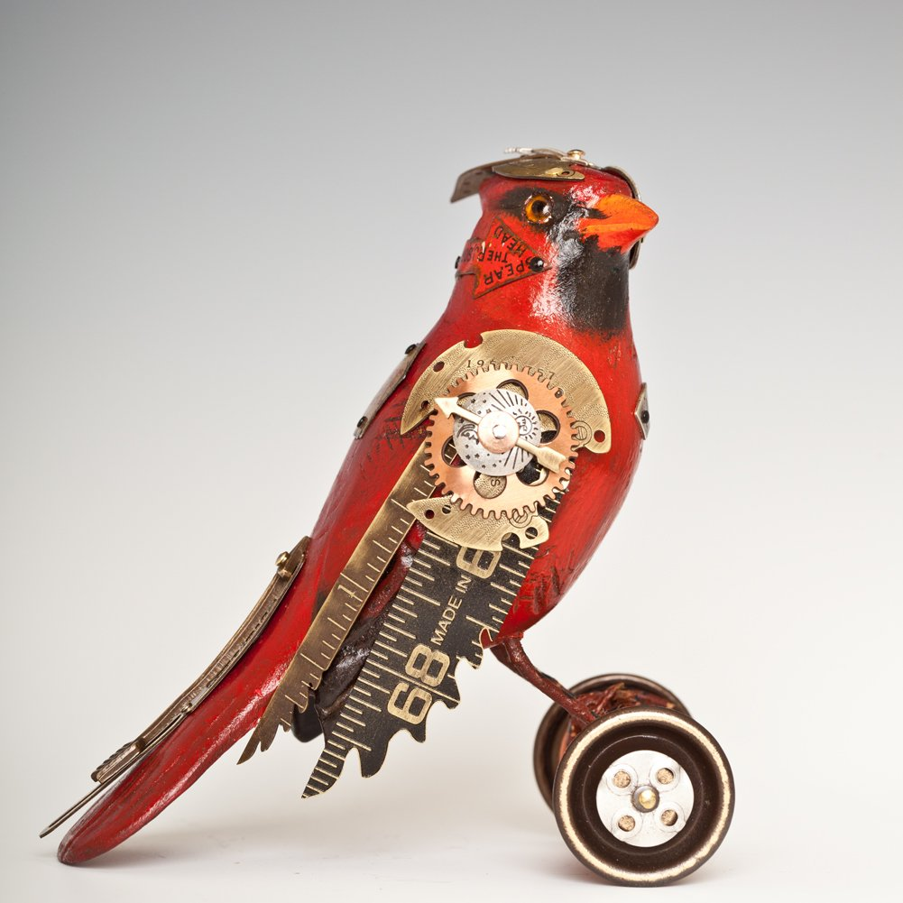 Cardinal Found Object Songbird