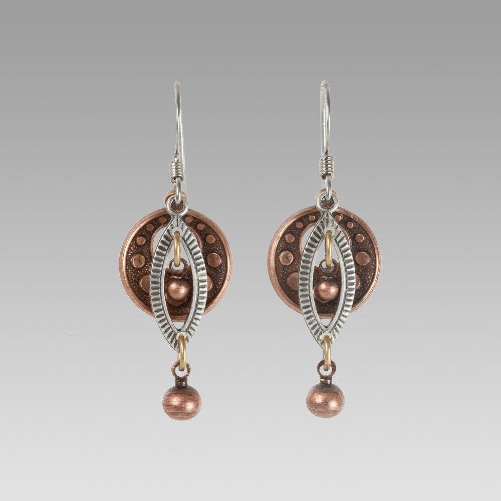 Silver Oval Copper Dot Earrings