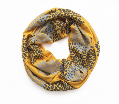 Gray/Mustard Flowers Mini Infinity Scarf