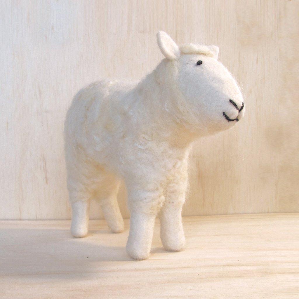 Lg Felted White Sheep