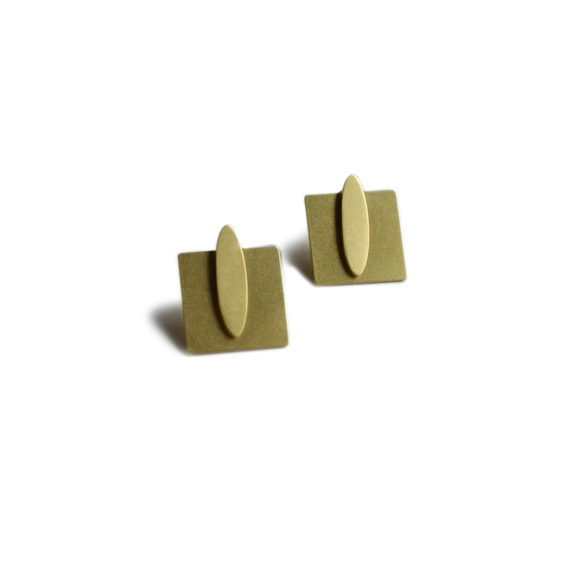 Oval Square Jacket Earring