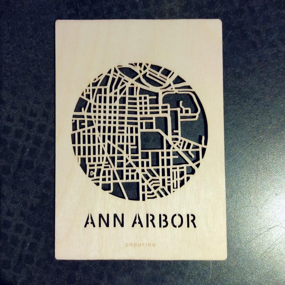 Wooden Ann Arbor Postcard