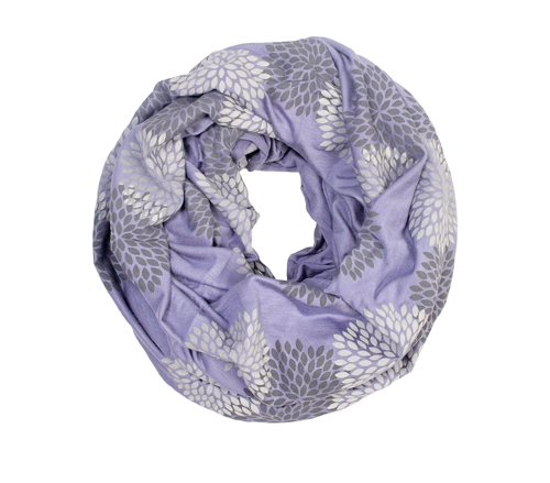 Gray/Periwinkle Flowers Mini Infinity Scarf