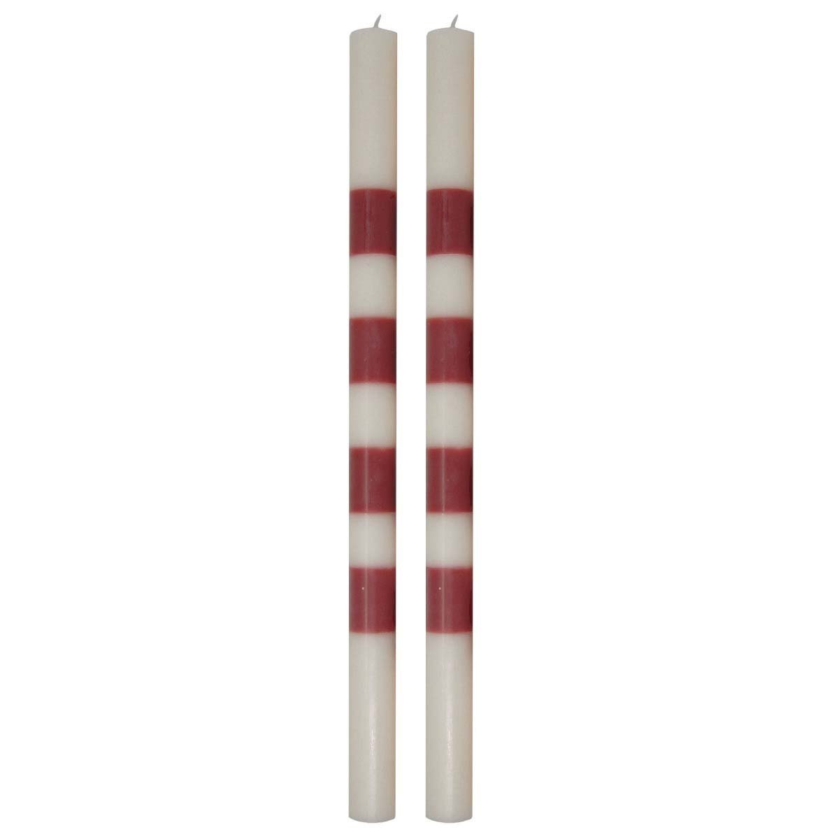 14 Striped Taper Candle Pair