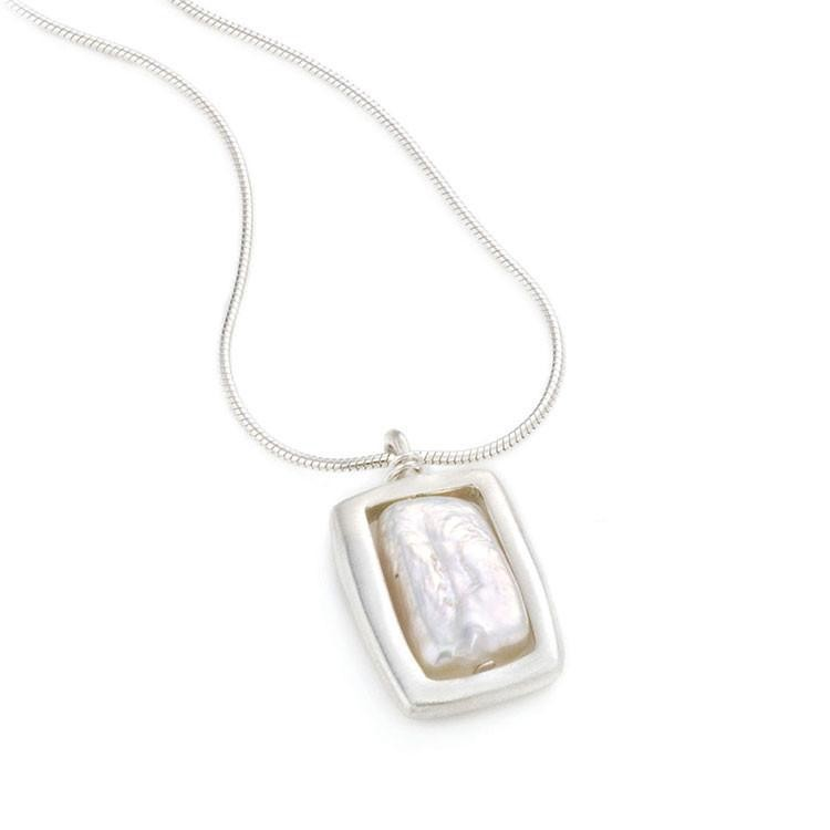 Open Rectangle Pearl Silver Necklace