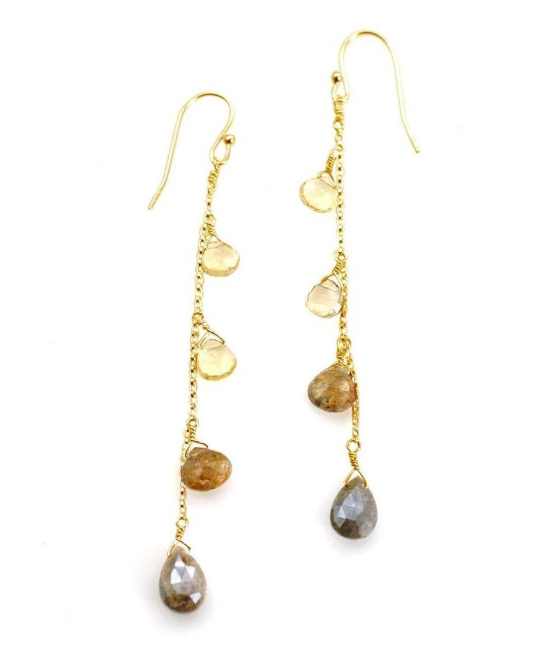 Citrine Andalusite Zircon Vermeil Earrings