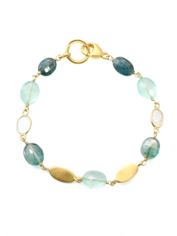 Green Quartz & Opal Vermeil Bracelet