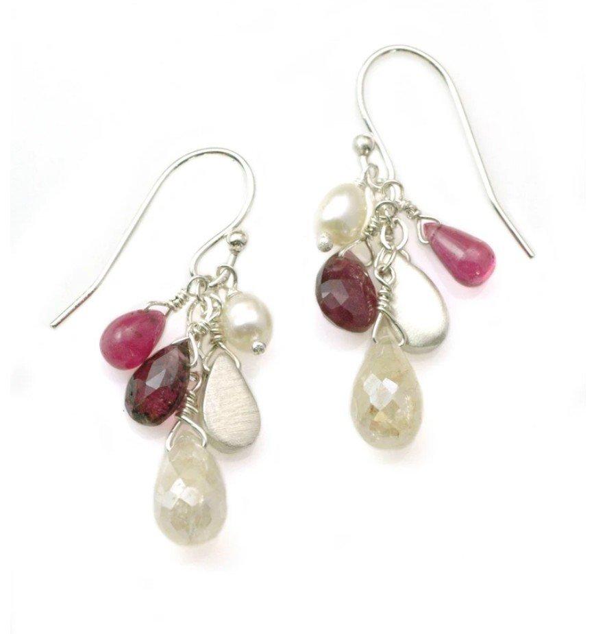 Zircon Ruby Pearl Tourmaline Sterling Earrings