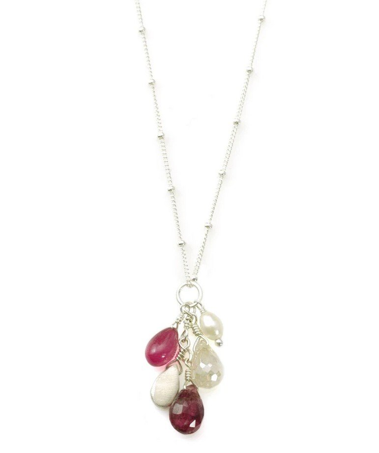 Zircon Ruby Pearl Tourmaline Sterling Necklace
