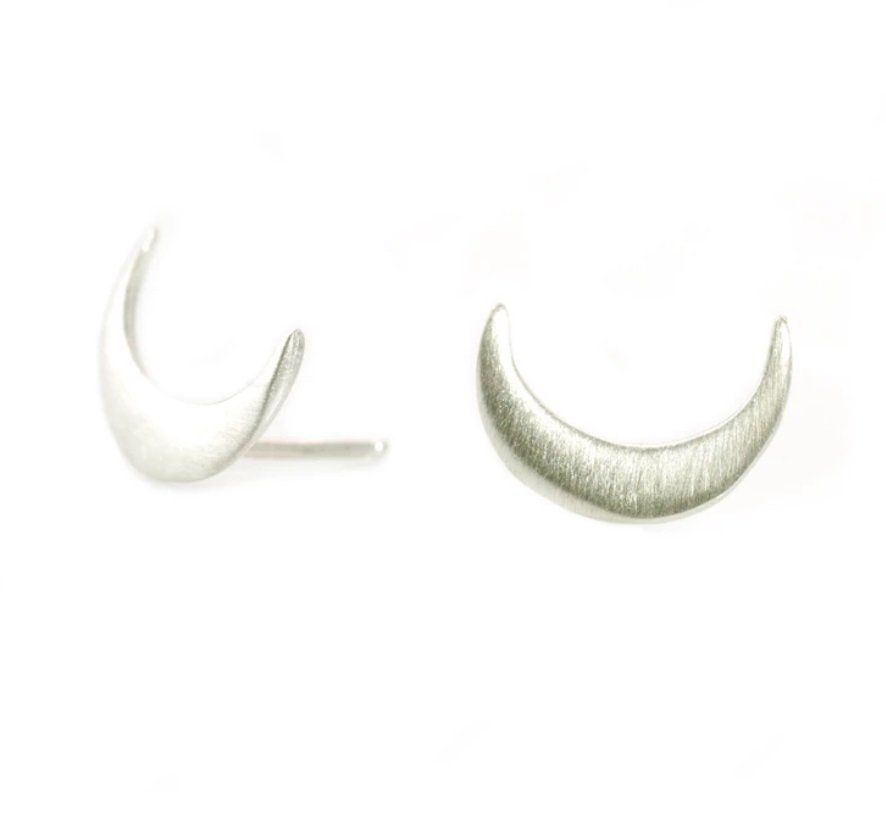 Crescent Sterling Silver Earrings