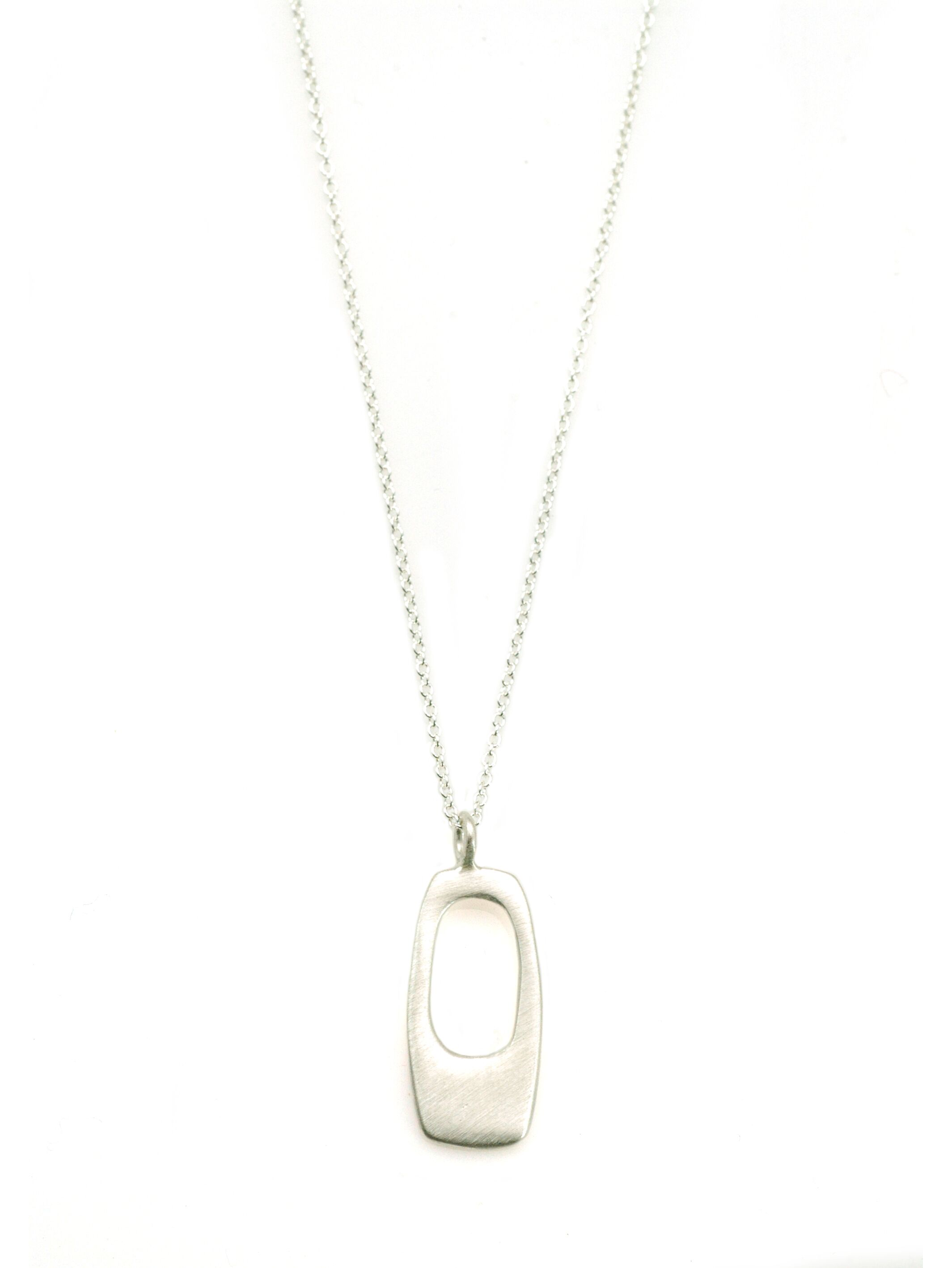 Rectangle Sterling Silver Necklace