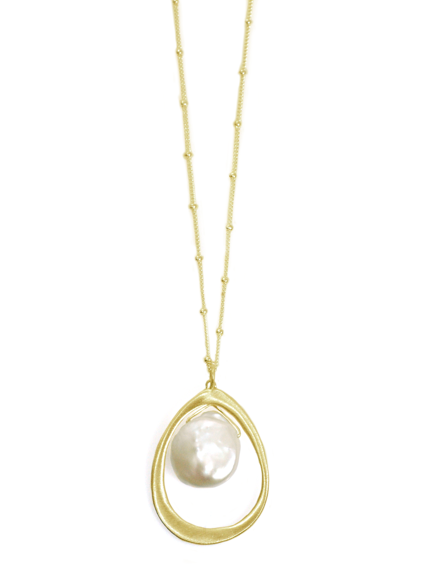 Oval Pearl Vermeil Necklace