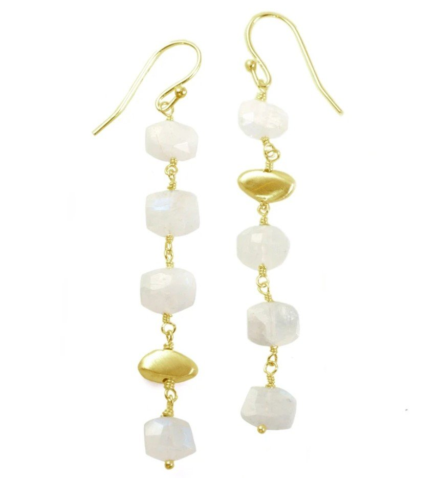 Stacked Moonstone Vermeil Pebble Earrings