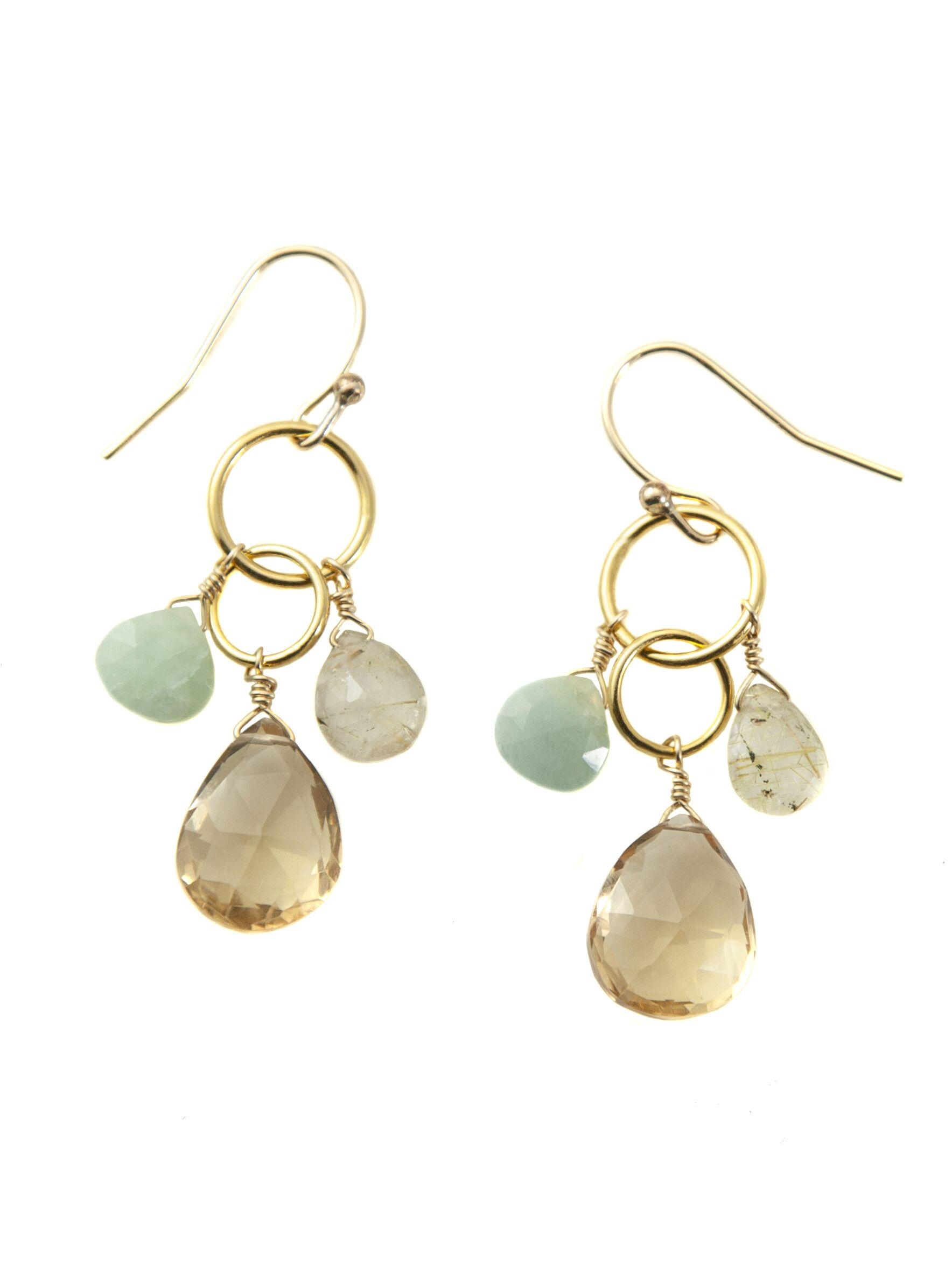 Aqua & Quartz Vermeil Earring