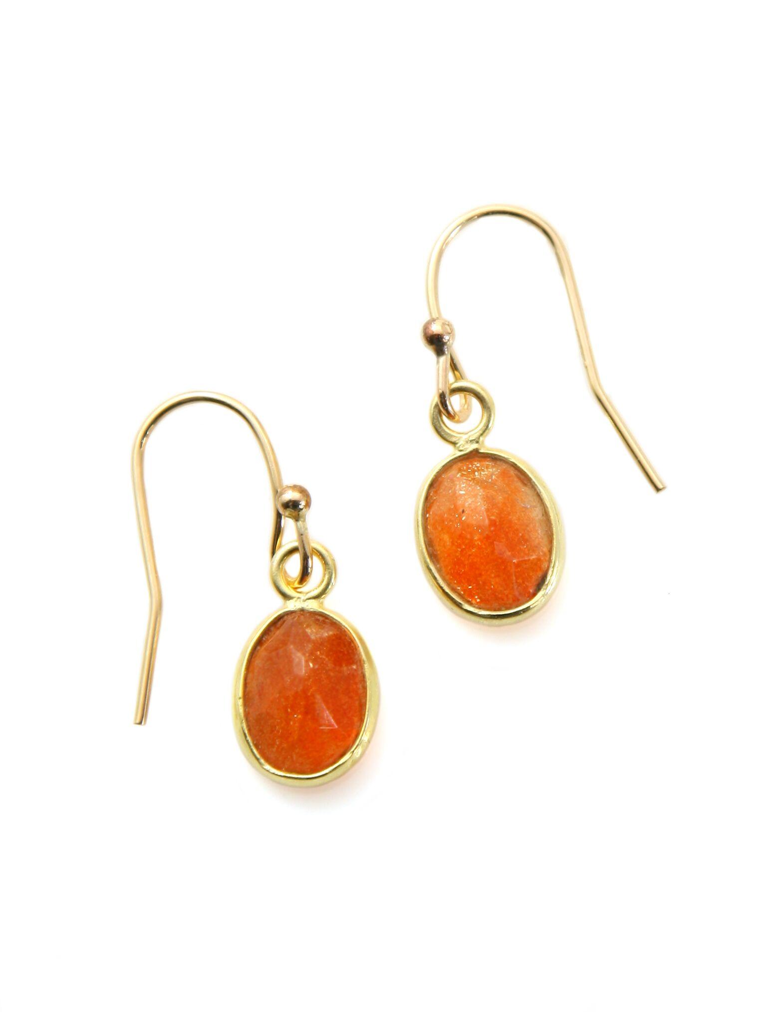 Oval Sunstone Vermeil Earrings