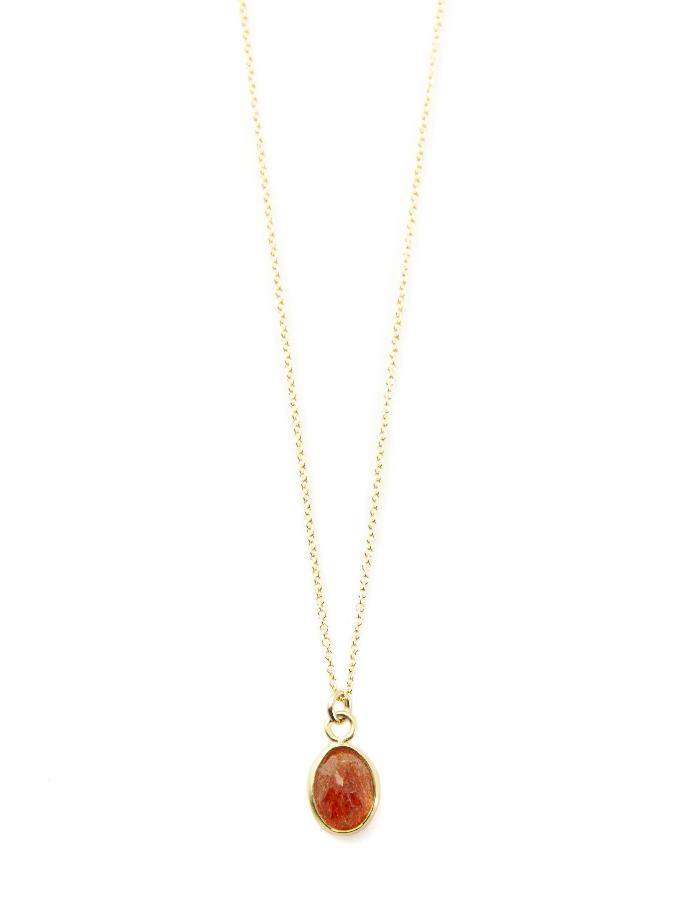 Oval Sunstone Vermeil Necklace