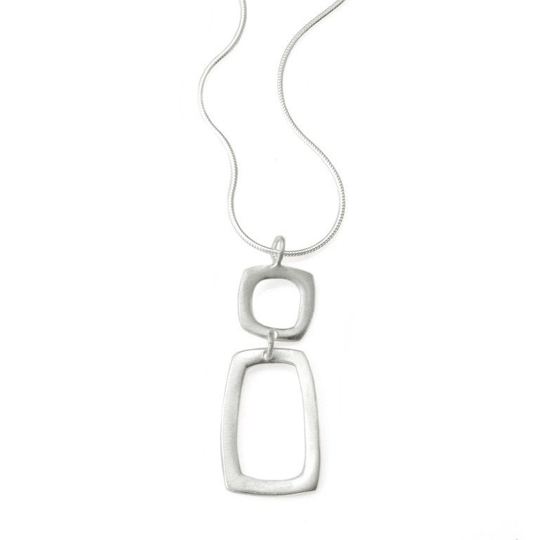 Square & Rectangle Sterling Silver Necklace
