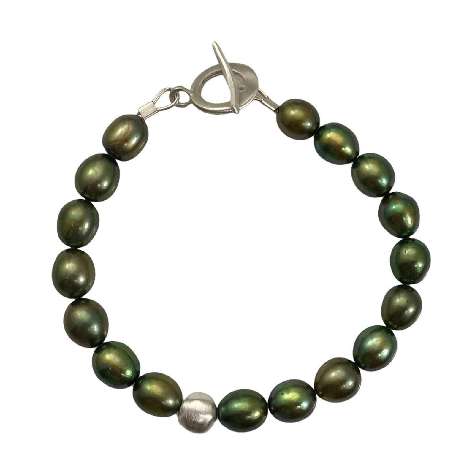 Green Pearls Silver Bracelet