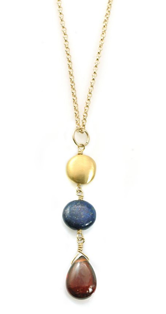 Coin Lapis Garnet Vermeil Necklace