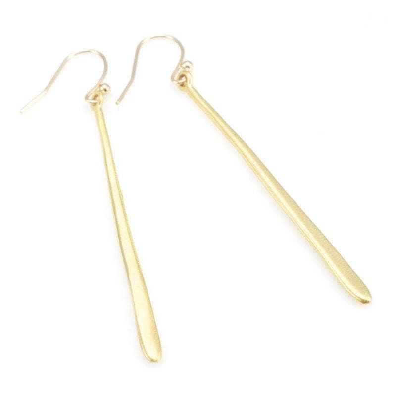 Long Vermeil Stick Earrings