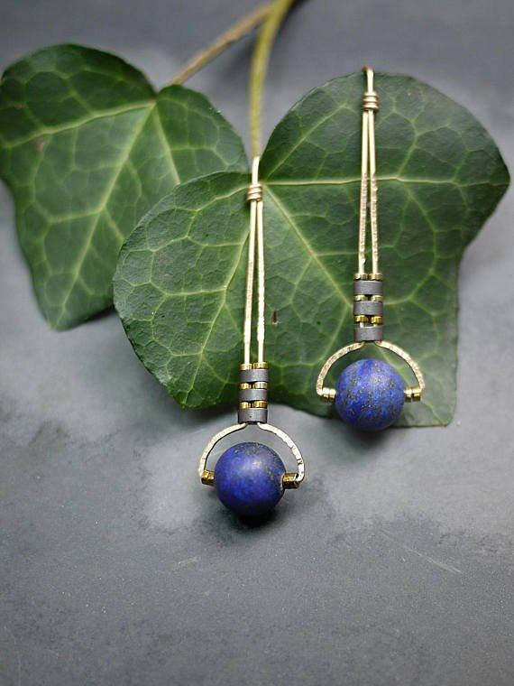 Half Moon Lapis Sterling Earrings