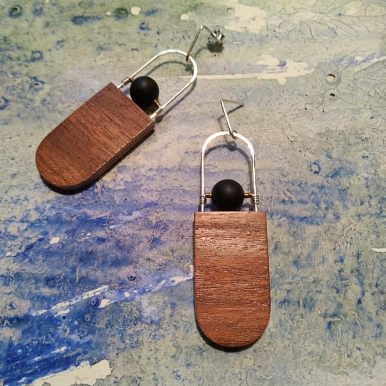 Oblong Wood Earrings
