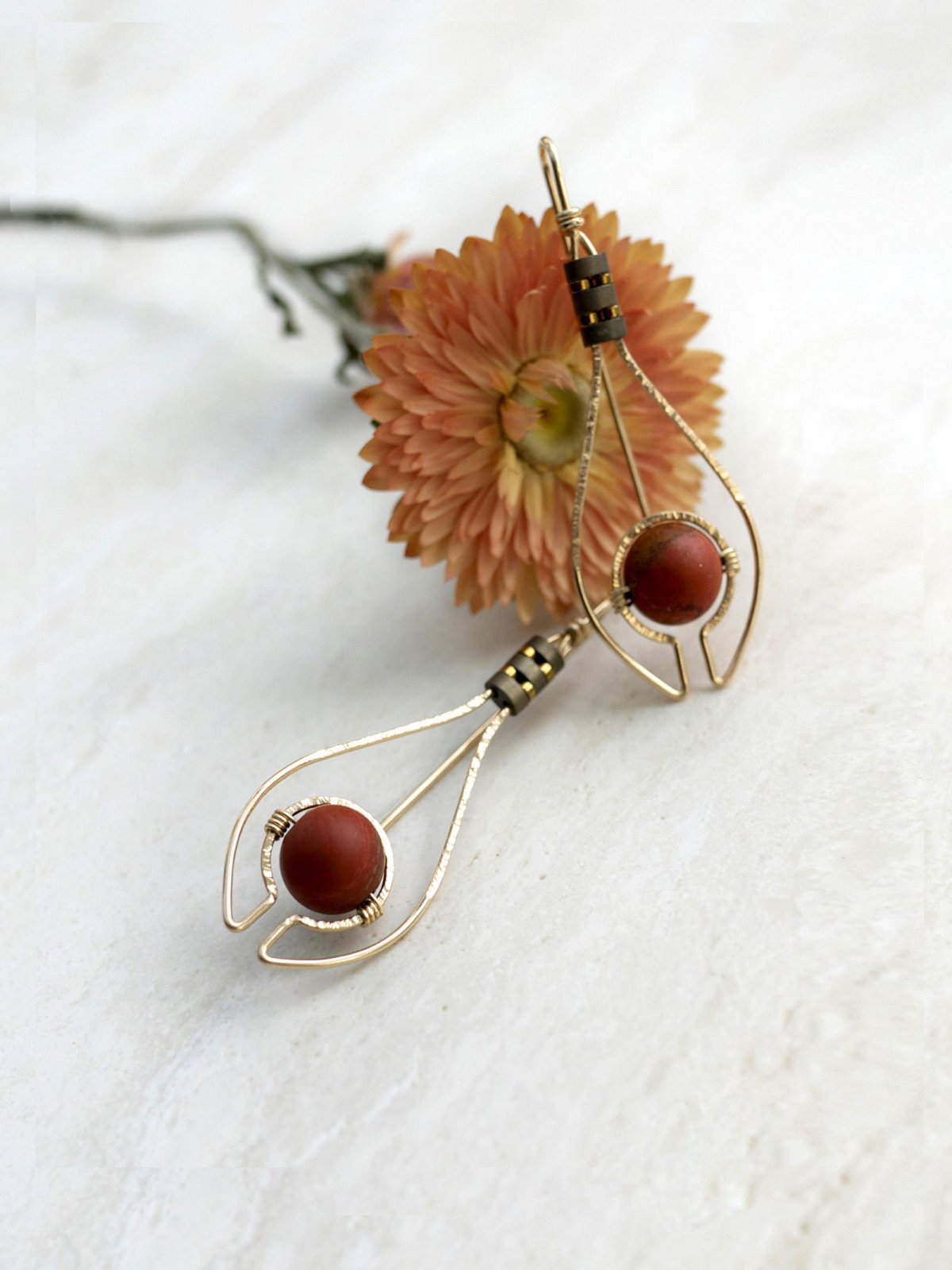 Deco Pear Red Jasper YGF Earrings