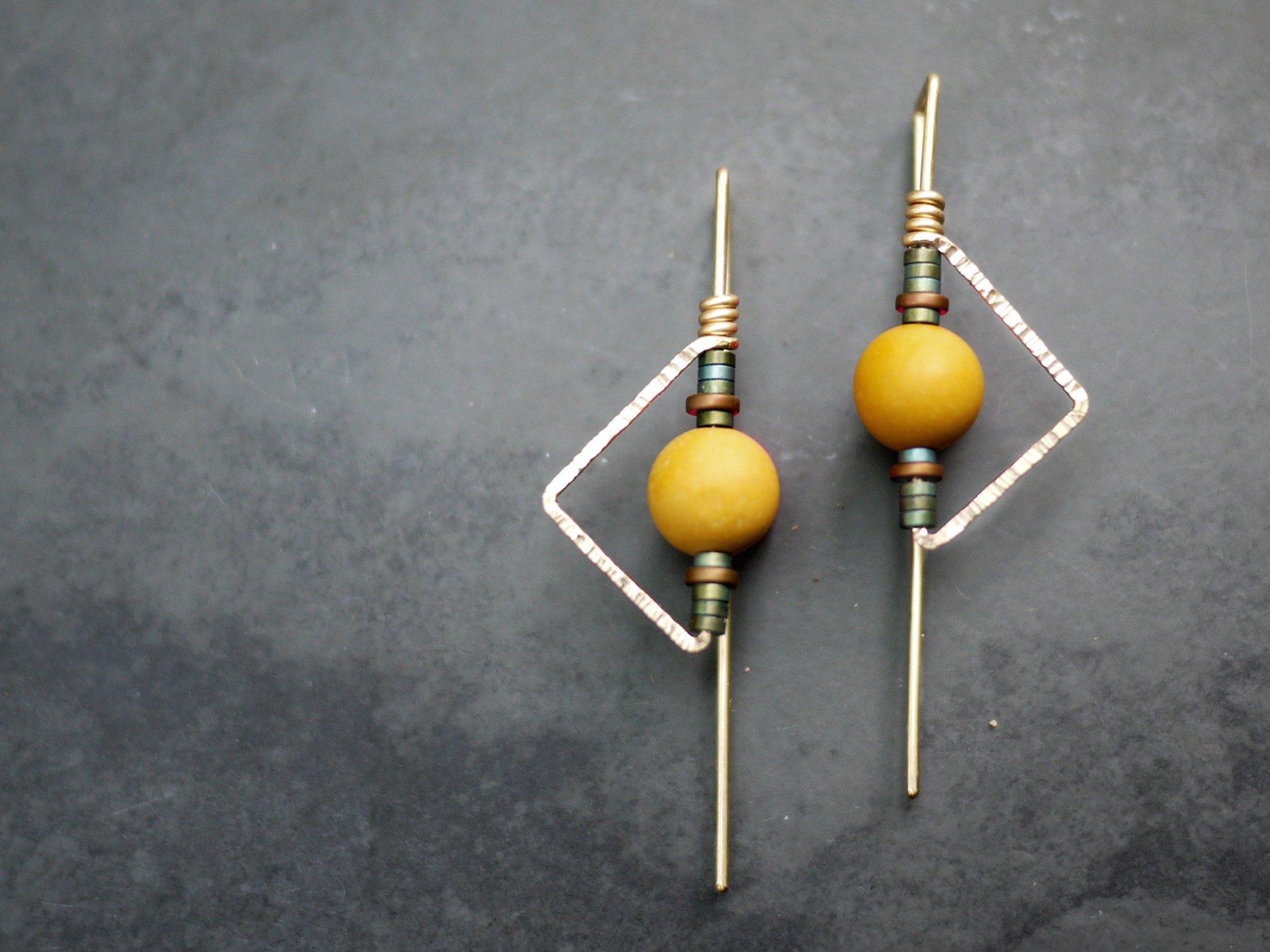 Deco Triangle Mookaite Earrings