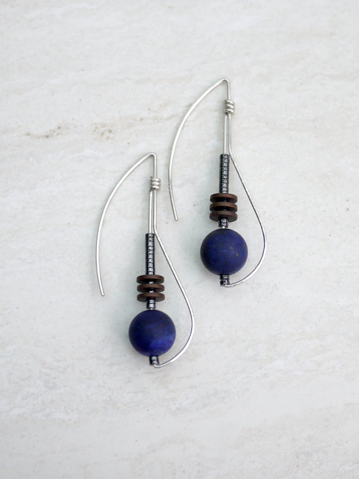 Long Deco Sterling Earrings w/ Lapis