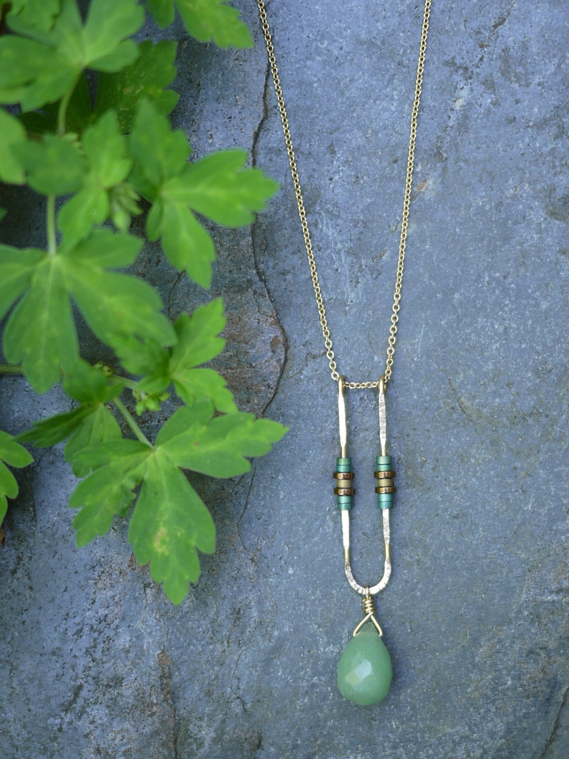 U-Shaped Green Apatite Sterling Necklace