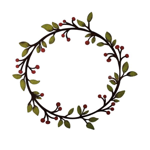 Lg Leaf & Berry Painted Wreath