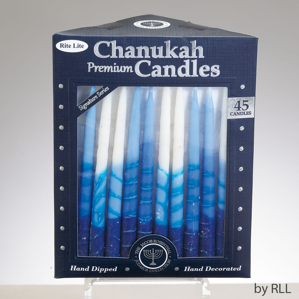 Striped Blue Chanukah Candles