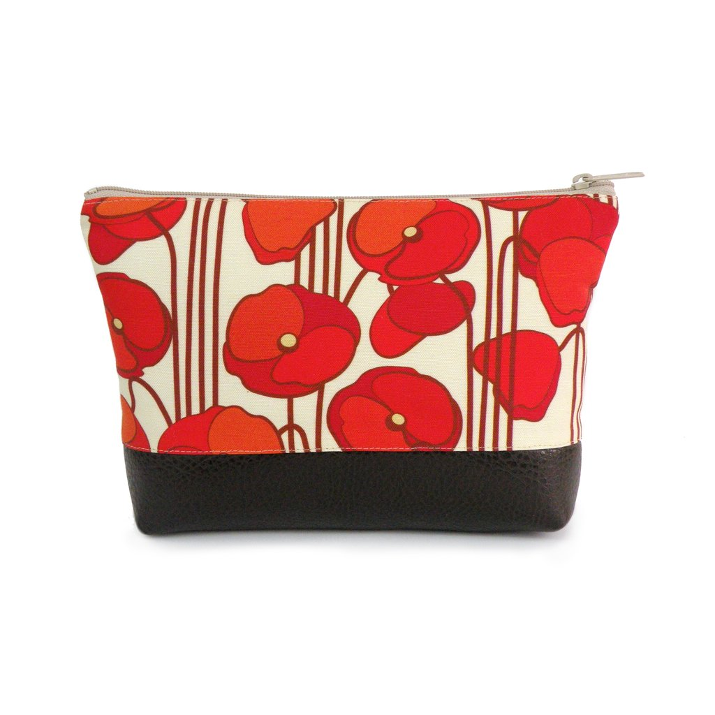 Large Cosmetic Clutch in Orange Poppy Linen