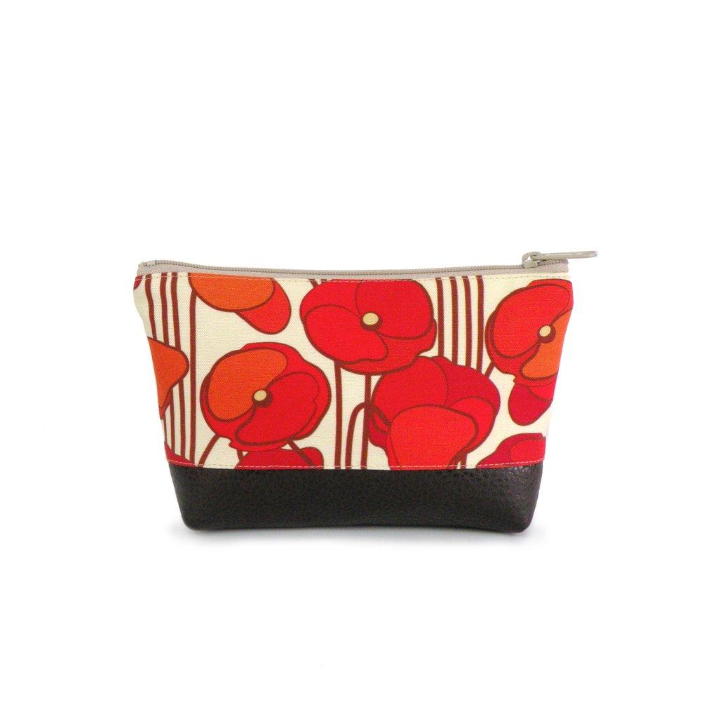 Small Cosmetic Clutch Orange Poppy Linen