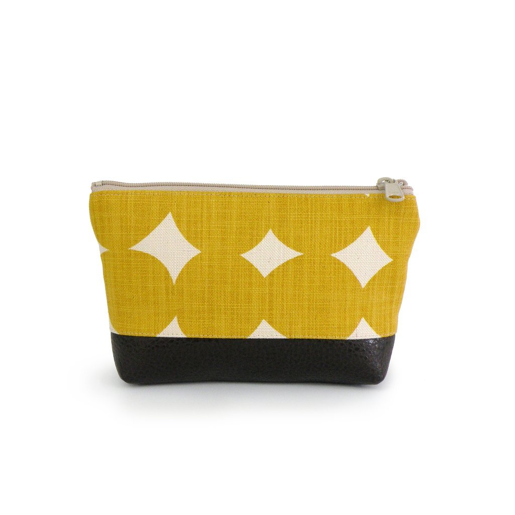 Small Cosmetic Clutch Yellow Dot