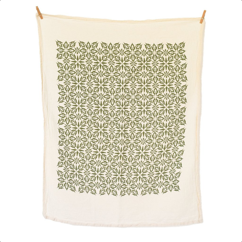 Woodblock Green Nettles Towel