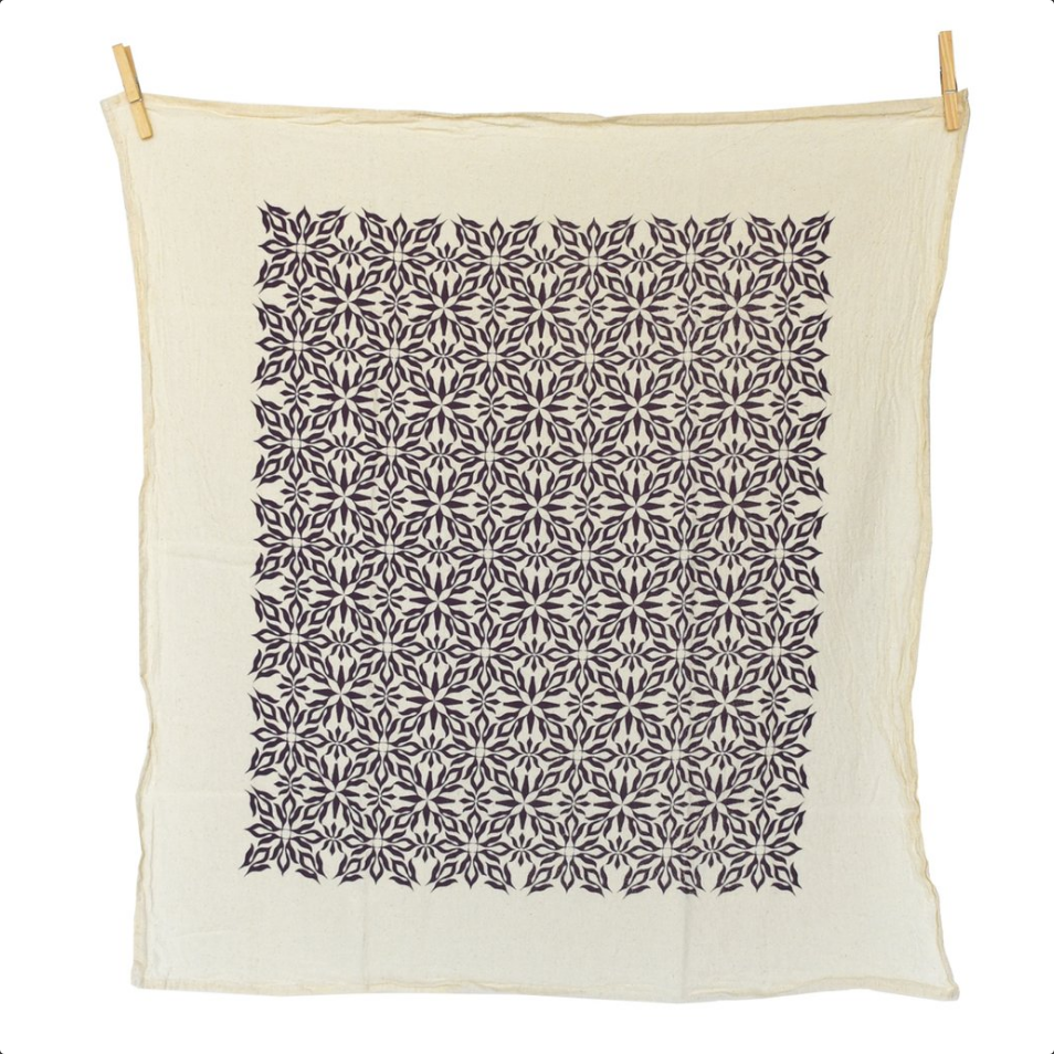 Woodblock Purple Nettles Towel