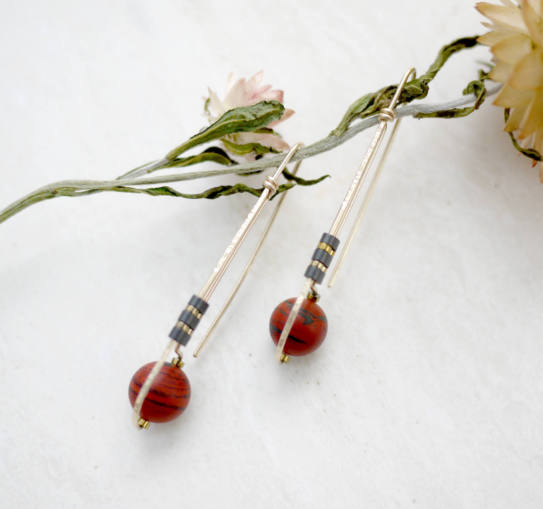 Long Deco Red Jasper SS Earrings