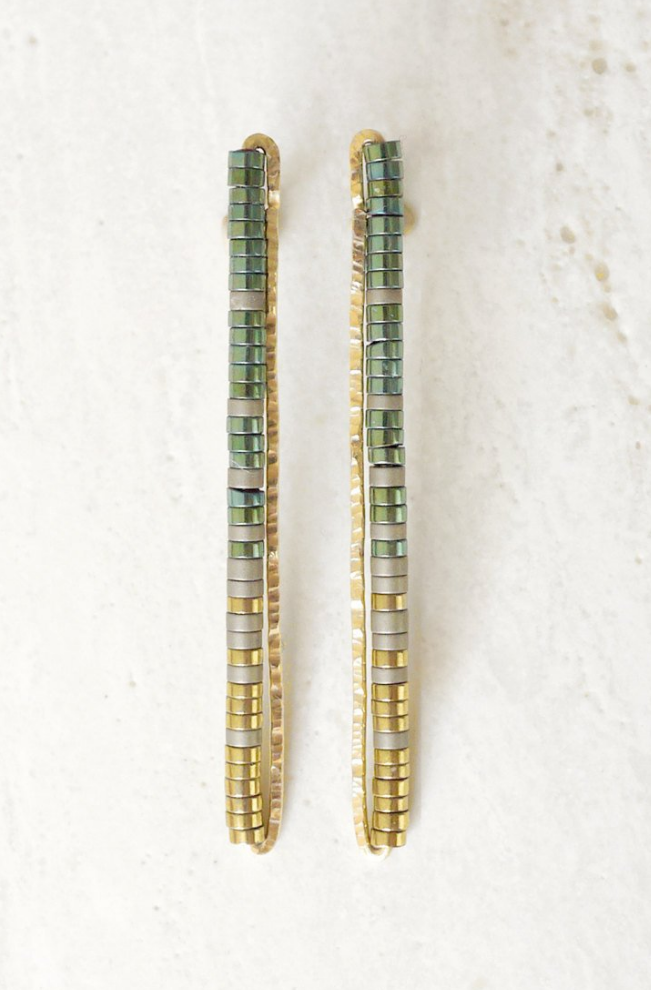 Long Stick Green/Gold Earrings